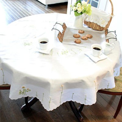 画像1: 【クチュール/ホームリネン】カモミール手刺繍円形テーブルクロス