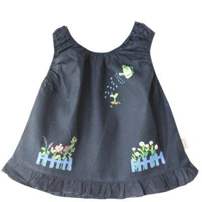 画像2: 【クチュール/子供服】じょうろ手刺繍ノースリーブスモック ネイビー
