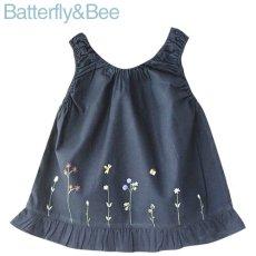 画像1: 【クチュール/子供服】バタフライ&ビー手刺繍ノースリーブスモック*ネイビー* (1)