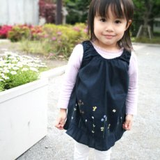 画像5: 【クチュール/子供服】バタフライ&ビー手刺繍ノースリーブスモック*ネイビー* (5)