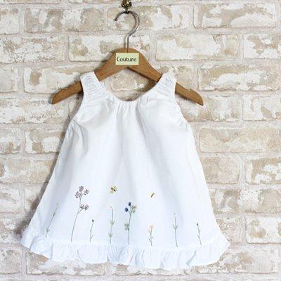 画像1: 【クチュール/子供服】バタフライ&ビー手刺繍ノースリーブスモック ネイビー
