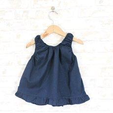 画像2: 【クチュール/子供服】バタフライ&ビー手刺繍ノースリーブスモック*ネイビー* (2)