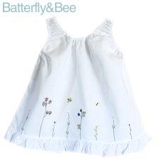 画像1: 【クチュール/子供服】バタフライ&ビー手刺繍ノースリーブスモック*白* (1)
