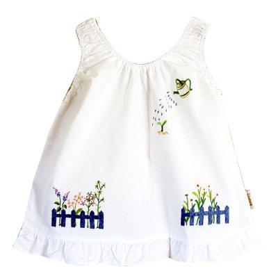 画像1: 【クチュール/子供服】じょうろ手刺繍ノースリーブスモック 白