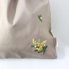 画像2: 【クチュール/雑貨】ミモザ手刺繍ランジェリーポーチ*ベージュ* (2)