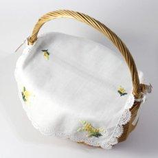 画像4: 【クチュール/かご】ミモザ手刺繍カバー付きクチュールバスケット*白* (4)