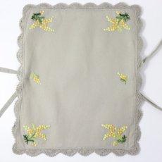 画像4: 【クチュール/かご】ミモザ手刺繍カバー付きクチュールバスケット*ベージュ* (4)