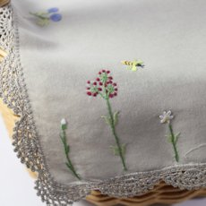 画像5: 【クチュール/かご】バタフライ&ビー手刺繍カバー付きクチュールバスケット*ベージュ* (5)