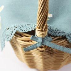 画像5: 【クチュール/かご】カモミール手刺繍カバー付きクチュールバスケット*グリーン* (5)
