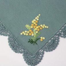 画像2: 【クチュール/かご】ミモザ手刺繍カバー付きクチュールバスケット*グリーン* (2)