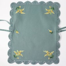 画像4: 【クチュール/かご】ミモザ手刺繍カバー付きクチュールバスケット*グリーン* (4)