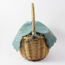 画像3: 【クチュール/かご】バタフライ&ビー手刺繍カバー付きクチュールバスケット*グリーン* (3)