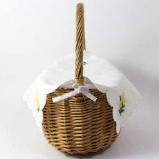 画像3: 【クチュール/かご】ミモザ手刺繍カバー付きクチュールバスケット*白* (3)
