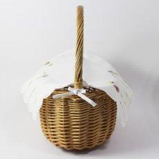 画像3: 【クチュール/かご】バタフライ&ビー手刺繍カバー付きクチュールバスケット*白* (3)