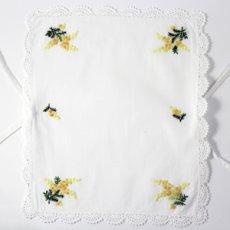 画像5: 【クチュール/かご】ミモザ手刺繍カバー付きクチュールバスケット*白* (5)