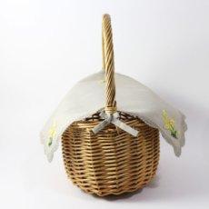 画像3: 【クチュール/かご】ミモザ手刺繍カバー付きクチュールバスケット*ベージュ* (3)