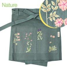 画像3: 【クチュール/エプロン】ナチュール手刺繍カフェエプロン|グリーン| (3)