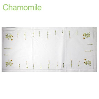 画像1: 【クチュール/ホームリネン】カモミール手刺繍センターテーブル ホワイト