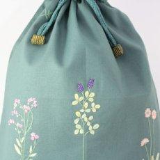 画像2: 【クチュール/巾着】ナチュール手刺繍ランジェリーポーチ*グリーン* (2)