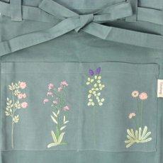 画像4: 【クチュール/エプロン】ナチュール手刺繍カフェエプロン|グリーン| (4)