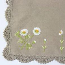 画像2: 【クチュール/かご】カモミール手刺繍カバー付きクチュールバスケット*ベージュ* (2)