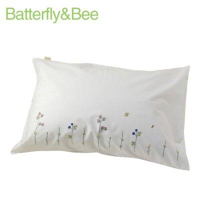 画像1: 【クチュール/ベッドリネン】バタフライ&ビー手刺繍枕カバー 白