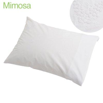 画像1: 【クチュール/ベッドリネン】白糸刺繍ミモザ枕カバー