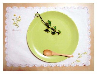 画像1: 【クチュール/ホーム】カモミール手刺繍長方形テーブルクロス