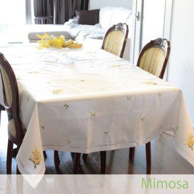 画像3: 【クチュール/ホームリネン】ミモザ手刺繍長方形テーブルクロス