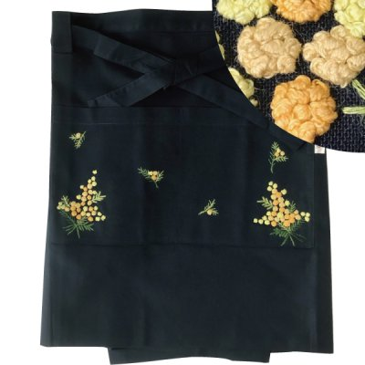 画像3: 【クチュール/エプロン】ミモザ手刺繍カフェエプロン ベージュ