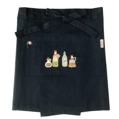 画像3: 【クチュール/エプロン】オリーブオイル手刺繍カフェエプロン ネイビー
