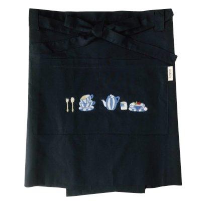 画像3: 【クチュール/エプロン】ブルーディッシュ手刺繍カフェエプロン ベージュ