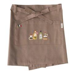 画像2: 【クチュール/エプロン】オリーブオイル手刺繍カフェエプロン*ベージュ* (2)