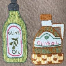 画像3: 【クチュール/エプロン】オリーブオイル手刺繍カフェエプロン*ベージュ* (3)
