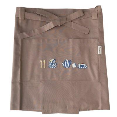 画像1: 【クチュール/エプロン】ブルーディッシュ手刺繍カフェエプロン ベージュ