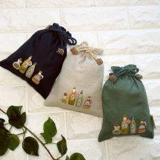 画像1: 手刺繍オリーブオイルボトル柄キンチャク(小) (1)