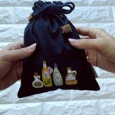 画像4: 手刺繍オリーブオイルボトル柄キンチャク(小) (4)