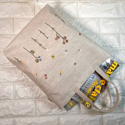 画像3: 【クチュール/バッグ】バタフライ&ビー手刺繍たてトート