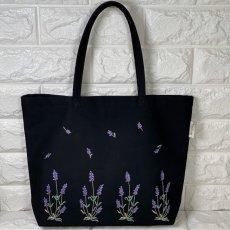 画像3: 【クチュール/バッグ】ラベンダー手刺繍よこトート (3)