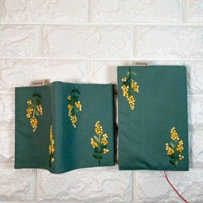 画像3: 【クチュール/雑貨】バタフライ&ビー手刺繍ブックカバー*グリーン*