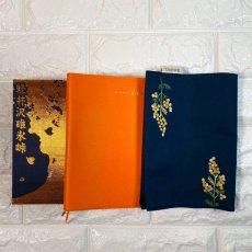 画像3: 手刺繍白ミモザ柄ブックカバー|ネイビー| (3)