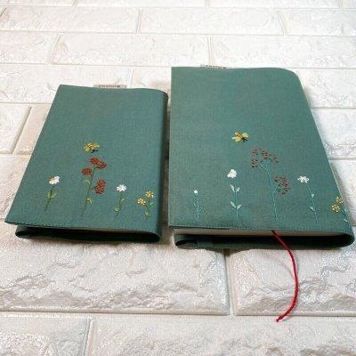 画像2: 【クチュール/雑貨】バタフライ&ビー手刺繍ブックカバー*グリーン*