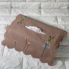 画像1: 【クチュール/雑貨】ナチュール手刺繍ティッシュ箱カバー*ベージュ* (1)