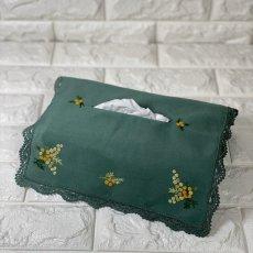 画像1: 【クチュール/雑貨】ミモザ手刺繍ティッシュ箱カバー*グリーン* (1)