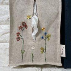 画像2: 【クチュール/雑貨】バタフライ&ビー手刺繍ティッシュ箱ホルダー (2)