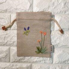 画像2: 手刺繍ナチュール柄キンチャク (2)