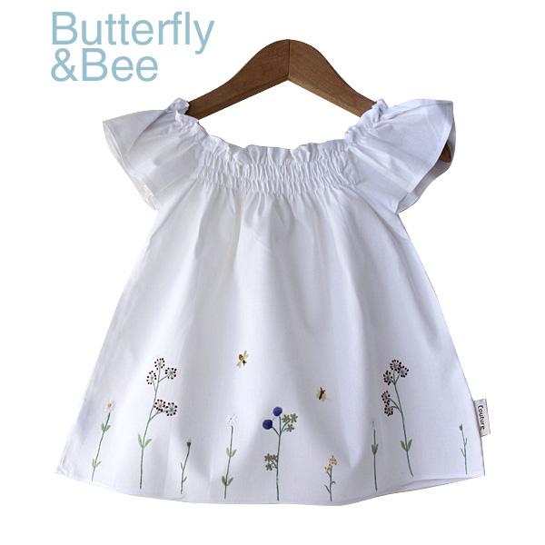 画像1: 【クチュール/子供服】バタフライ&ビー手刺繍フレアスモック 白 (1)