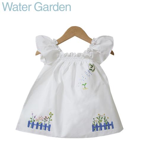 画像1: 【クチュール/子供服】じょうろ手刺繍フレアスモック 白 (1)