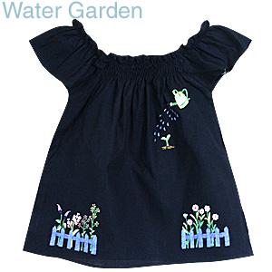画像1: 【クチュール/子供服】じょうろ手刺繍フレアスモック*ネイビー* (1)