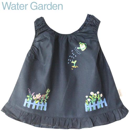 画像1: 【クチュール/子供服】じょうろ手刺繍ノースリーブスモック ネイビー (1)